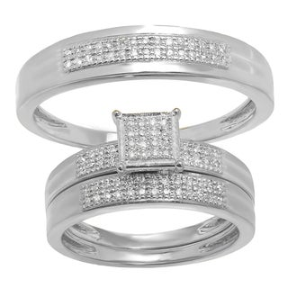 Elora 10K Gold 1/4ct TDW Pave Diamond Men's & Women's Trio Bridal Set
