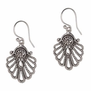 Handcrafted Sterling Silver 'Gleaming Shell' Earrings (Indonesia)