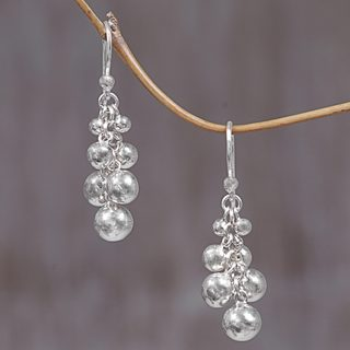 Handcrafted Sterling Silver 'Silver Grapes' Earrings (Indonesia)