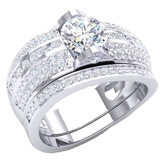 Elora Sterling Silver 2 1/4ct TGW White Cubic Zirconia Bridal Engagement Ring and Wedding Band Set