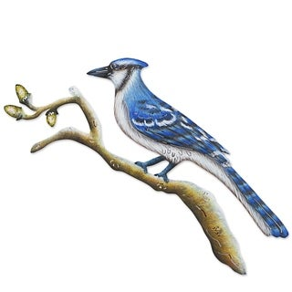 Handcrafted Steel 'Happy Blue Jay' Wall Art (Mexico)