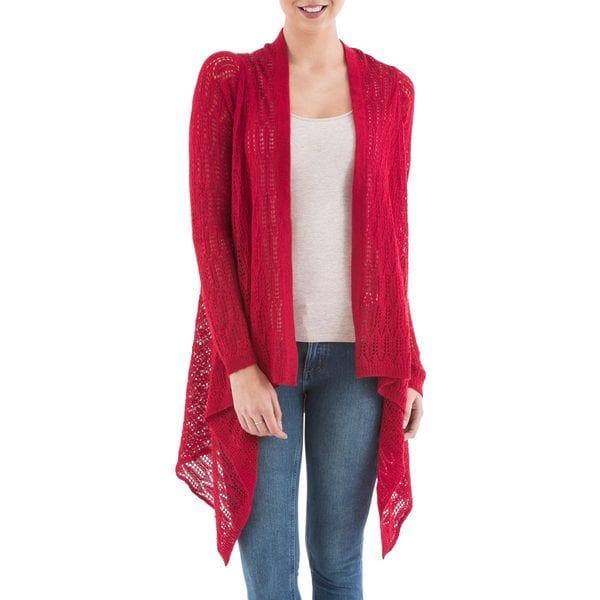 Handmade Acrylic Alpaca Blend 'Red Mirage' Cardigan Sweater (Peru)