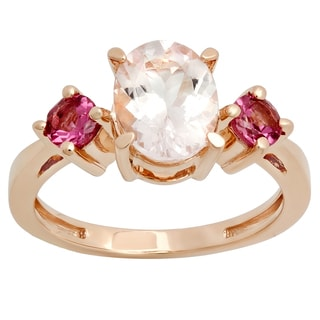 Elora 14K Rose Gold 2ct TW Oval Morganite & Round Tourmaline 3-Stone Engagement Ring (Pinik, Moderately In