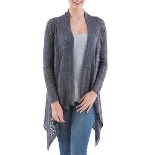 Handcrafted Acrylic Alpaca Blend 'Grey Mirage' Cardigan Sweater (Peru)