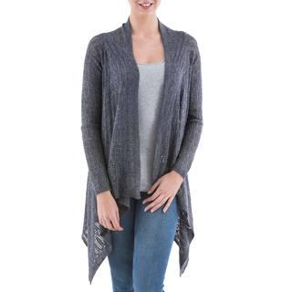 Handmade Acrylic Alpaca Blend 'Grey Mirage' Cardigan Sweater (Peru)