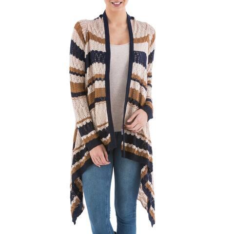 Handmade Acrylic Alpaca Blend 'Evening Mirage' Cardigan Sweater (Peru)