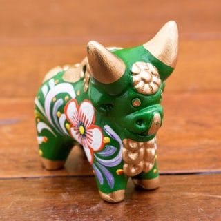 Handcrafted Ceramic 'Little Green Pucara Bull' Figurine (Peru)
