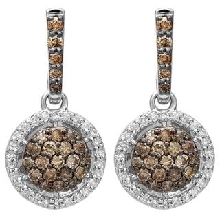 Elora 14K Gold 1 1/6ct TDW Champagne & White Diamond Drop Dangling Earrings (I-J & Champagne, I1-I2 & I2-I