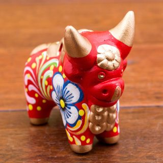 Handmade Ceramic 'Little Red Pucara Bull' Figurine (Peru)