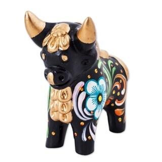 Handmade Ceramic 'Black Pucara Bull' Figurine (Peru)