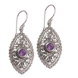 Handmade Sterling Silver 'Wonderful Bali in Purple' Amethyst Earrings (Indonesia)