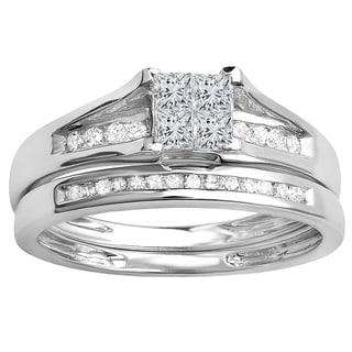 Elora 14K Gold 1/2ct TDW Round & Princess Cut Diamond Engagement Ring Set (I-J, I1-I2)