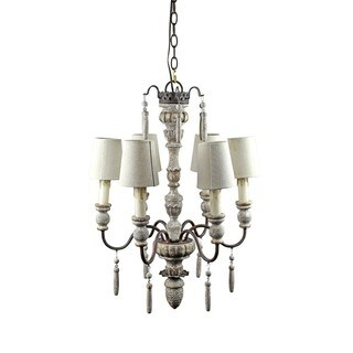Antique Wood 6 Light Chandelier with Fabric Shades
