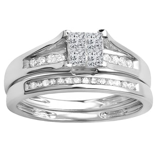 Elora 10K Gold 1/2ct TDW Round & Princess Cut Diamond Engagement Ring Set (I-J, I1-I2)