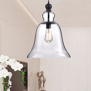 Yamila Antique Black Bell-shaped Glass Pendant Light