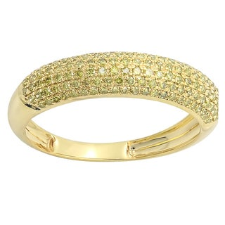 Elora 14K Yellow Gold 1/2ct TDW Round Yellow Diamond Wedding Band (Yellow, I2-I3)