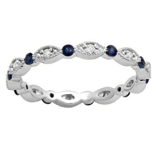 Elora 10K Gold 3/8ct TW Blue Sapphire & White Diamond Eternity Wedding Band (I-J & Blue, I2-I3)