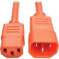 Tripp Lite 2ft Computer Power Extension Cord 10A 18 AWG C14 C13 Orang