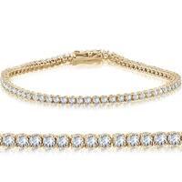 "14k Yellow Gold 3 ct Round Cut Diamond Tennis Bracelet 7"""
