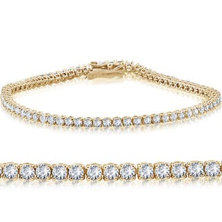 "14k Yellow Gold 3 ct Round Cut Diamond Tennis Bracelet 7"" - White I-J"