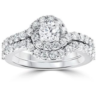 10k White Gold 1 1/2 ct TDW Diamond Engagement Halo Wedding Curve Ring Set (I-J,I2-I3)