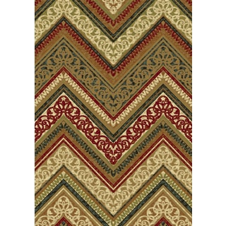 Majestic Collection Gold Viscose Machine-made Scrolled Chevron Rug (3'6 x 5'6)