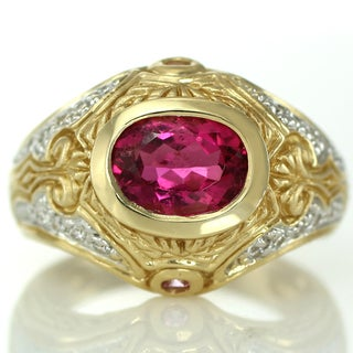 One-of-a-kind Michael Valitutti 14k Rubellite, Pink Sapphire and Diamond Ring