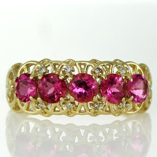 Michael Valitutti 14k Rubellite and Diamond Band-Style Ring