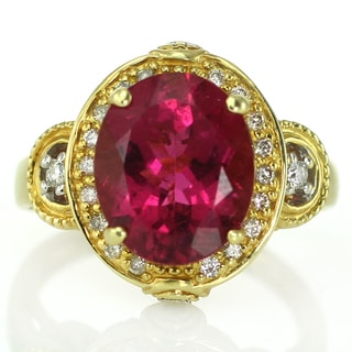 One-of-a-kind Michael Valitutti 18k Fine Rubellite and Diamond Ring