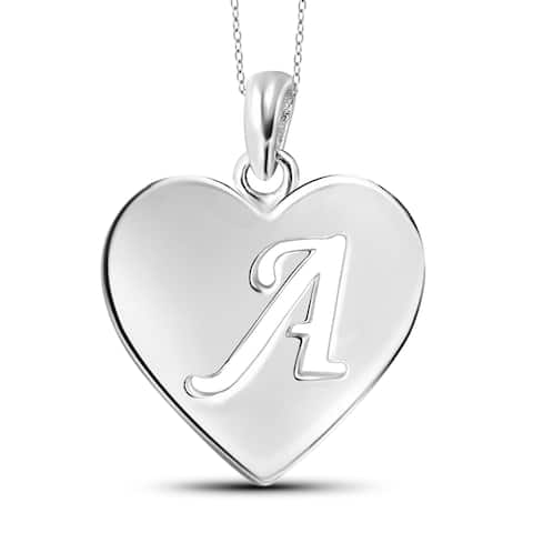 Sterling Silver A to Z Initial Cutout Heart Pendant Necklace