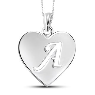 Sterling Silver A to Z Initial Cutout Heart Pendant Necklace (More options available)