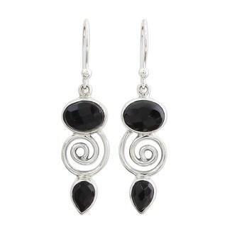 Handmade Sterling Silver 'Romantic Journey' Onyx Earrings (India)