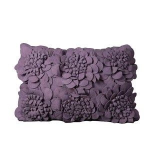 Mina Victory Felt Sun Flowers Lavender Throw Pillow (12-inch x 18-inch) by Nourison