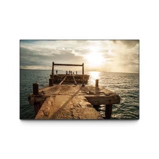 Des Grain 'Crash Boat Dock' 28 x 42 Canvas Wall Art
