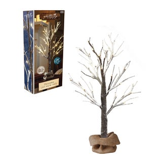 Apothecary 2ft LED Snow Tree with Burlap Sack and Twine