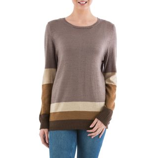Handcrafted Acrylic 'Imagine in Brown' Pullover Sweater (Peru)
