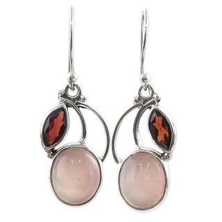 Handcrafted Sterling Silver 'Pink Fog' Garnet Chalcedony Earrings (India)