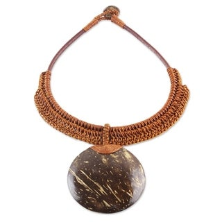 Handmade Coconut Shell Leather 'Rustic Moon' Necklace (Thailand)