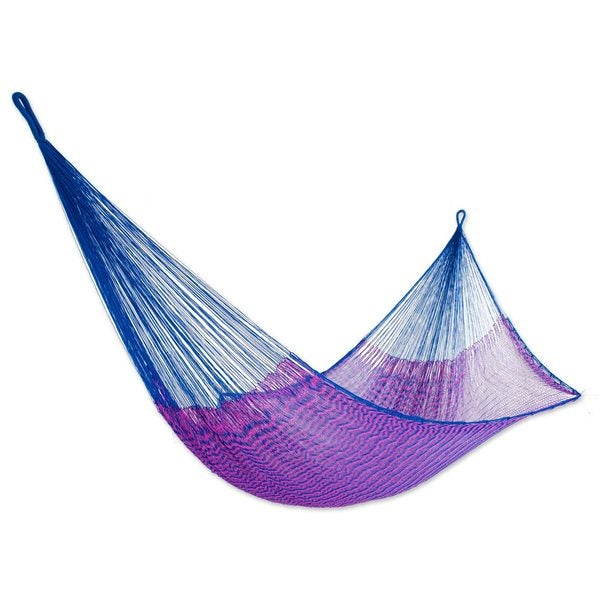 Handmade Nylon Rope 'Iridescent Tropics' Hammock (Single) (Mexico)
