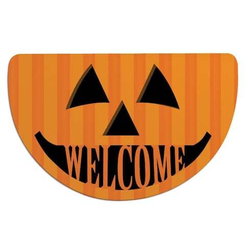 Jack O' Lantern Black/ Orange Polyester Half-round Doormat