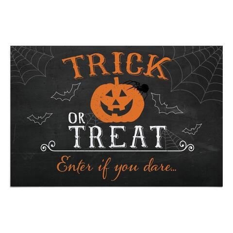 Black and Orange Trick-Or-Treat Halloween Doormat