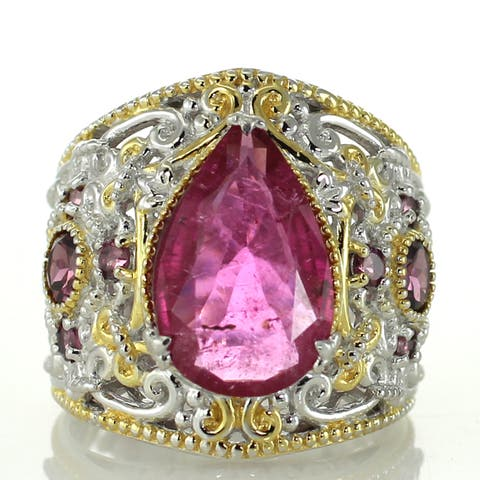 One-of-a-kind Michael Valitutti Rubellite and Rhodolite Cocktail Ring