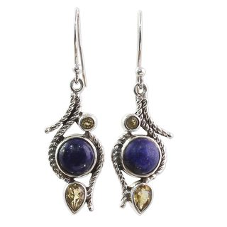 Handcrafted Sterling Silver 'Starry Bliss' Citrine Lapis Lazuli Earrings (India)