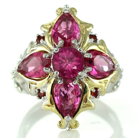 One-of-a-kind Michael Valitutti Rubellite and Orange Sapphire Cocktail Ring