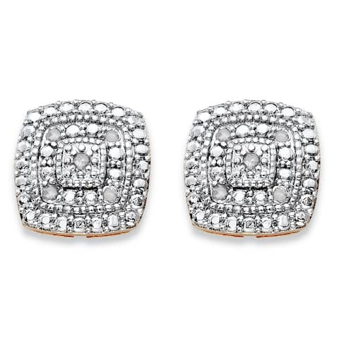 Yellow Gold-Plated Genuine Diamond Stud Earrings (1/10 cttw) (Accent- White Color, Accent Clarity)