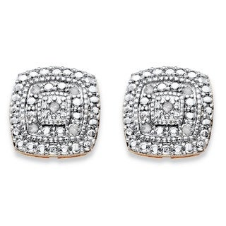 PalmBeach 14k Gold over Silver 1/10ct TGW Diamond Pave-style Two-tone Concentric Squared Stud Earrings (H-I, I1-I2)