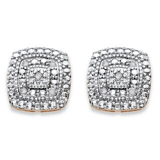 14k Gold over Silver 1/10ct TGW Diamond Pave-style Two-tone Concentric Squared Stud Earrin