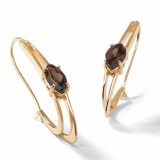 14k Yellow Gold-Plated Genuine Smoky Quartz Oblong Double Hoop Earrings