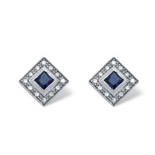 Platinum Over Sterling Silver 1ct TDW Princess-cut Sapphire and Cubic Zirconia Earrings