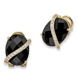 14k Gold-Plated Oval Checkerboard-Cut Genuine 2/5ct Black Onyx and Pave CZ Drop Earrings